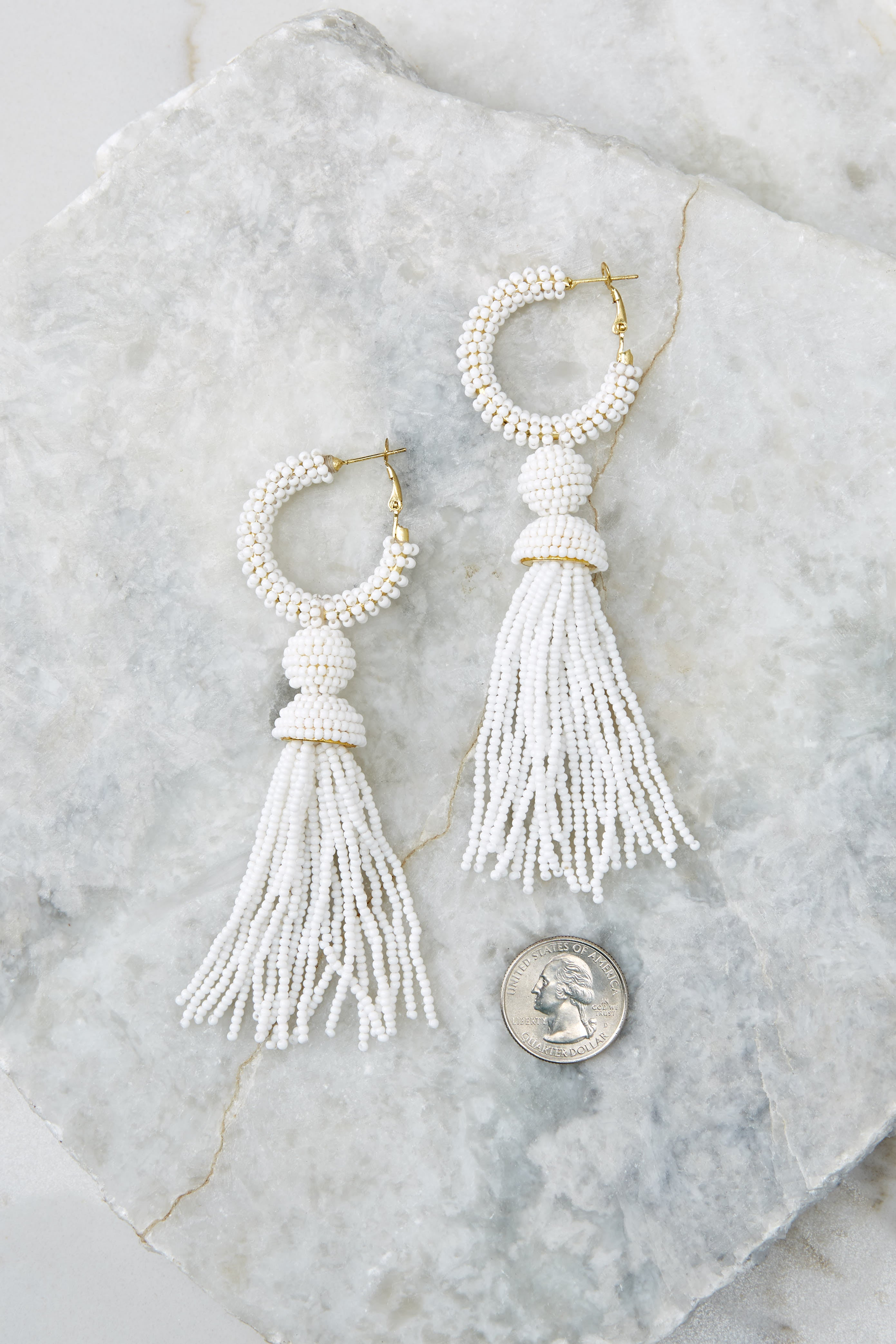 3 Fighting Silence White Beaded Tassel Earrings at reddressboutique.com