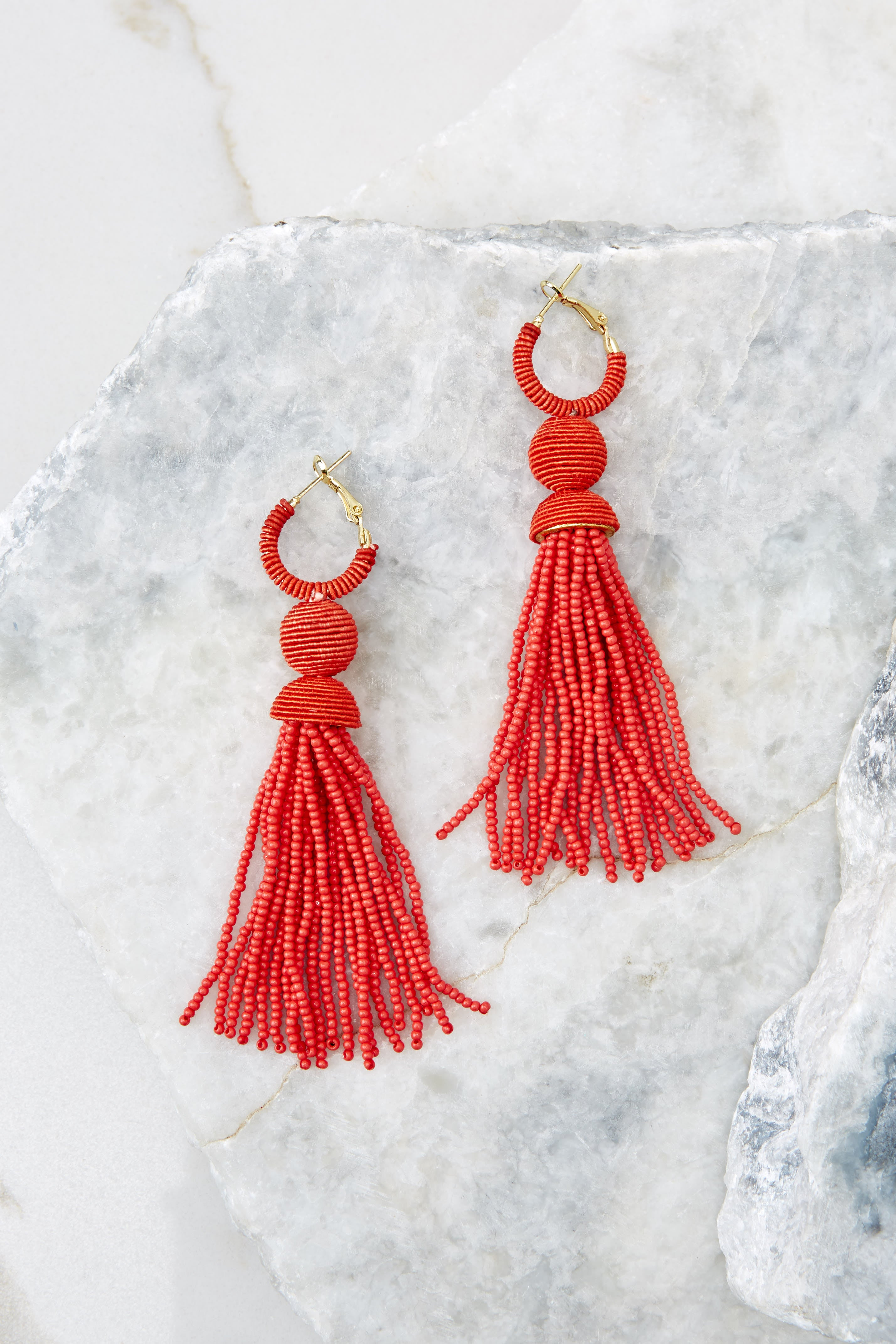 2 Impossible Imposter Fiesta Red Tassel Earrings at reddressboutique.com