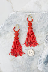 3 Impossible Imposter Fiesta Red Tassel Earrings at reddressboutique.com