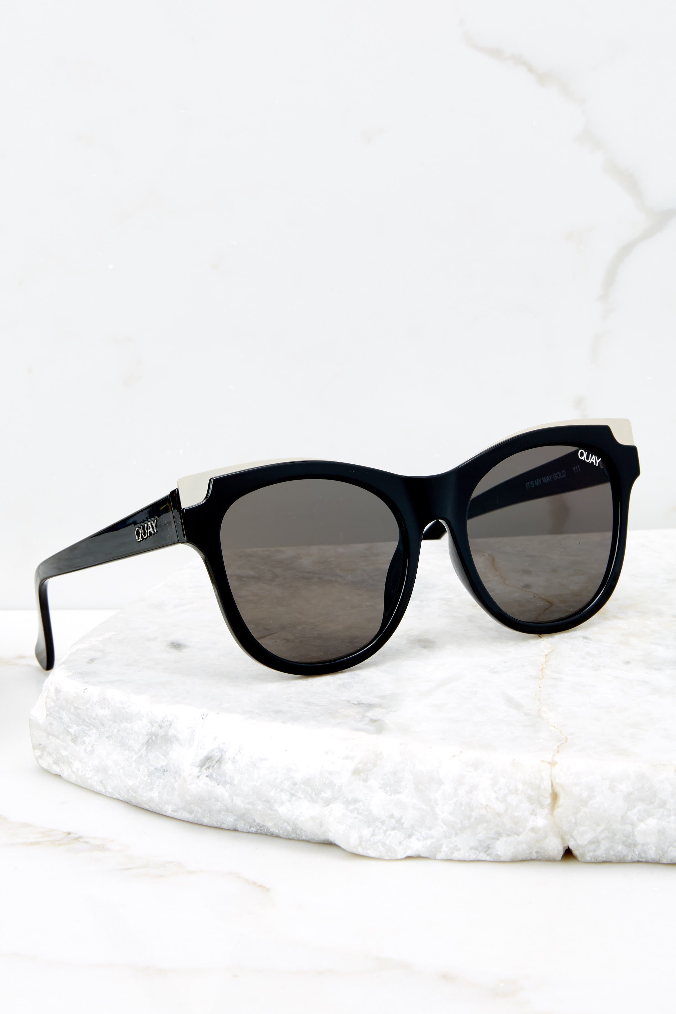 2 It's My Way Black Gold Smoke Sunglasses at reddress.com