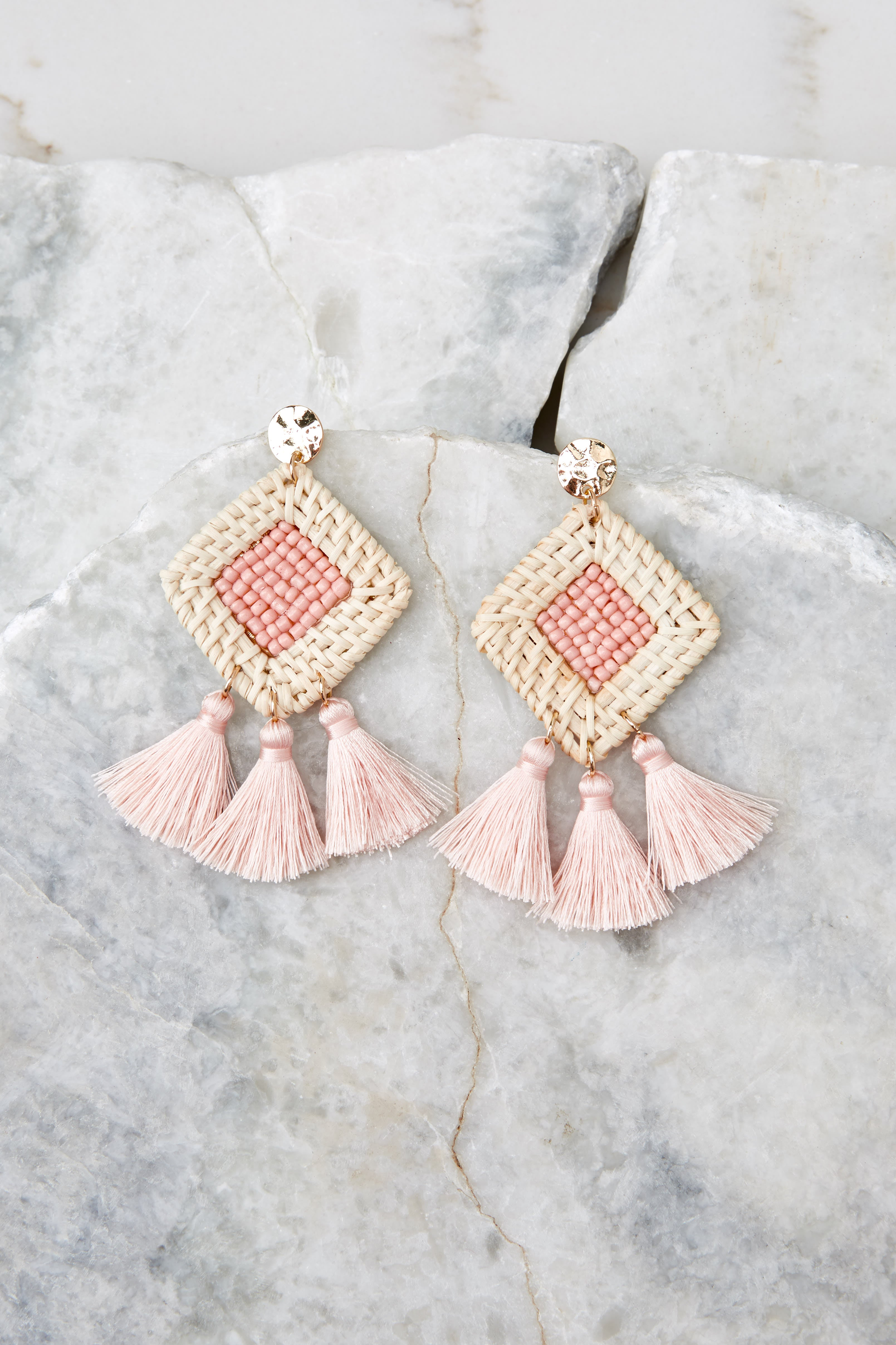 2 Look Forward To It Light Pink Earrings at reddressboutique.com