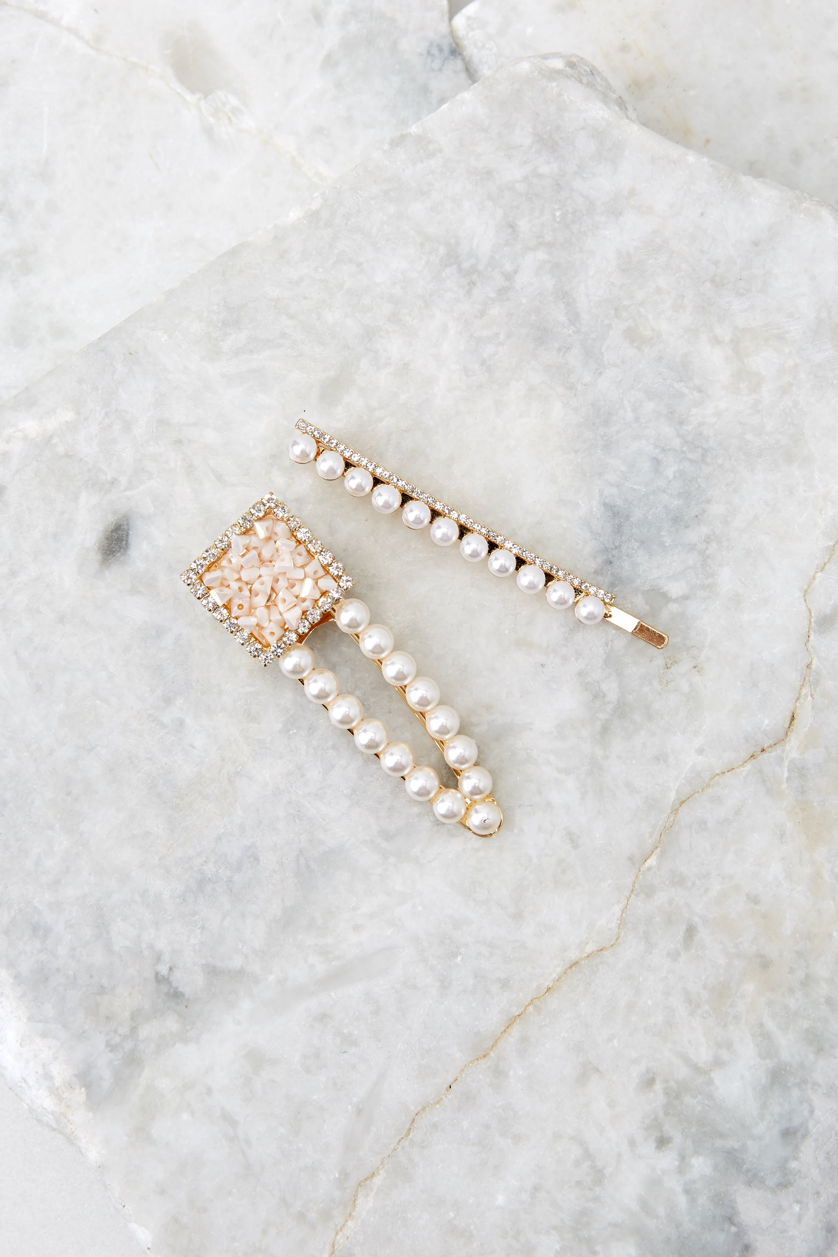 2 Count Your Blessings Pearl Hair Clip Set at reddressboutique.com