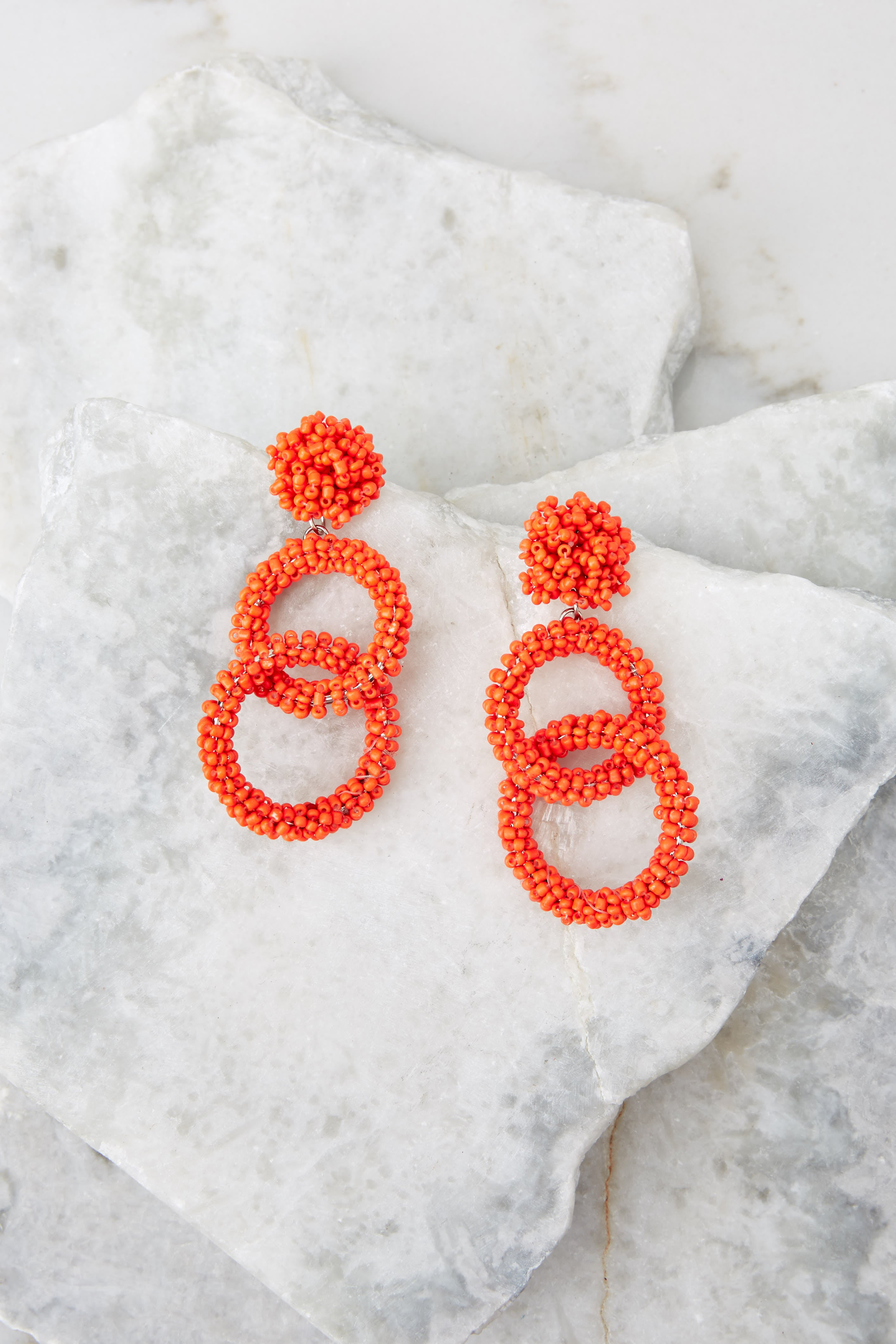 2 Excitement Doubled Tomato Orange Beaded Earrings at reddressboutique.com