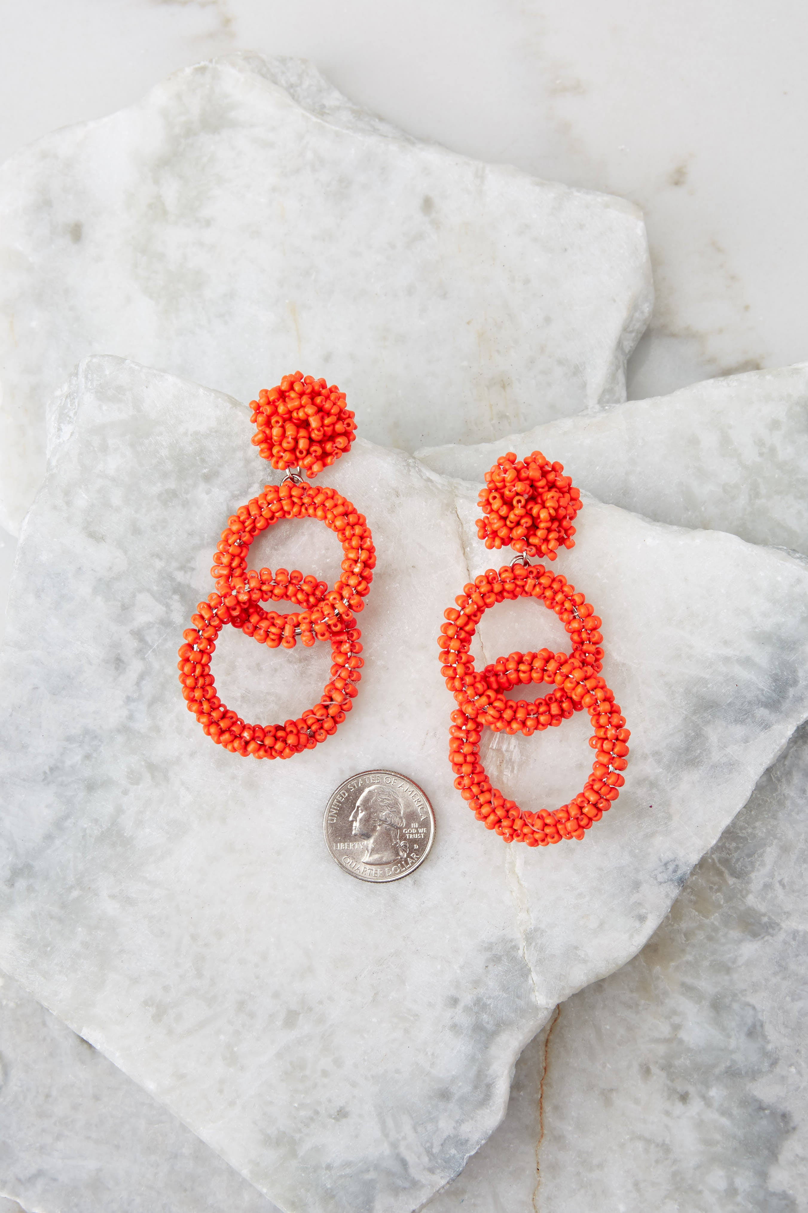 3 Excitement Doubled Tomato Orange Beaded Earrings at reddress.com
