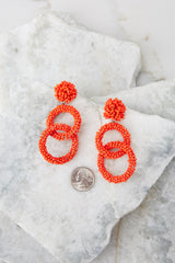 3 Excitement Doubled Tomato Orange Beaded Earrings at reddressboutique.com