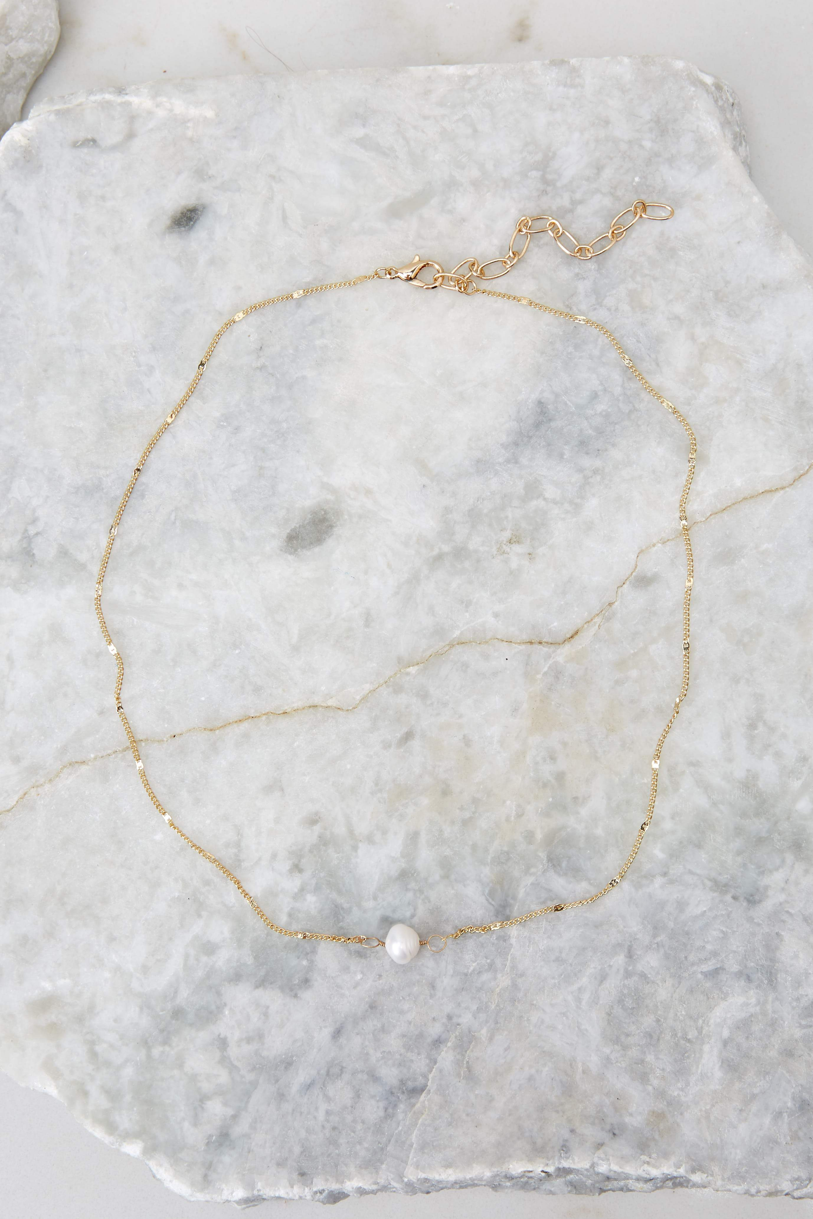 Salt Water Chaser Gold Pearl Necklace