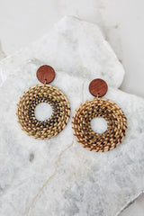 2 Really Into This Tan Woven Earrings at reddressboutique.com