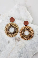 3 Really Into This Tan Woven Earrings at reddressboutique.com