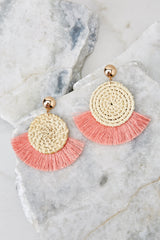 2 Ready Set Shine Blush Pink Fringe Earrings at reddressboutique.com