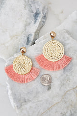 3 Ready Set Shine Blush Pink Fringe Earrings at reddressboutique.com