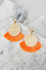 Ready Set Shine Bright Orange Fringe Earrings