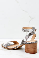 3 Going Up And Up Snakeskin Ankle Strap Heels at reddress.com