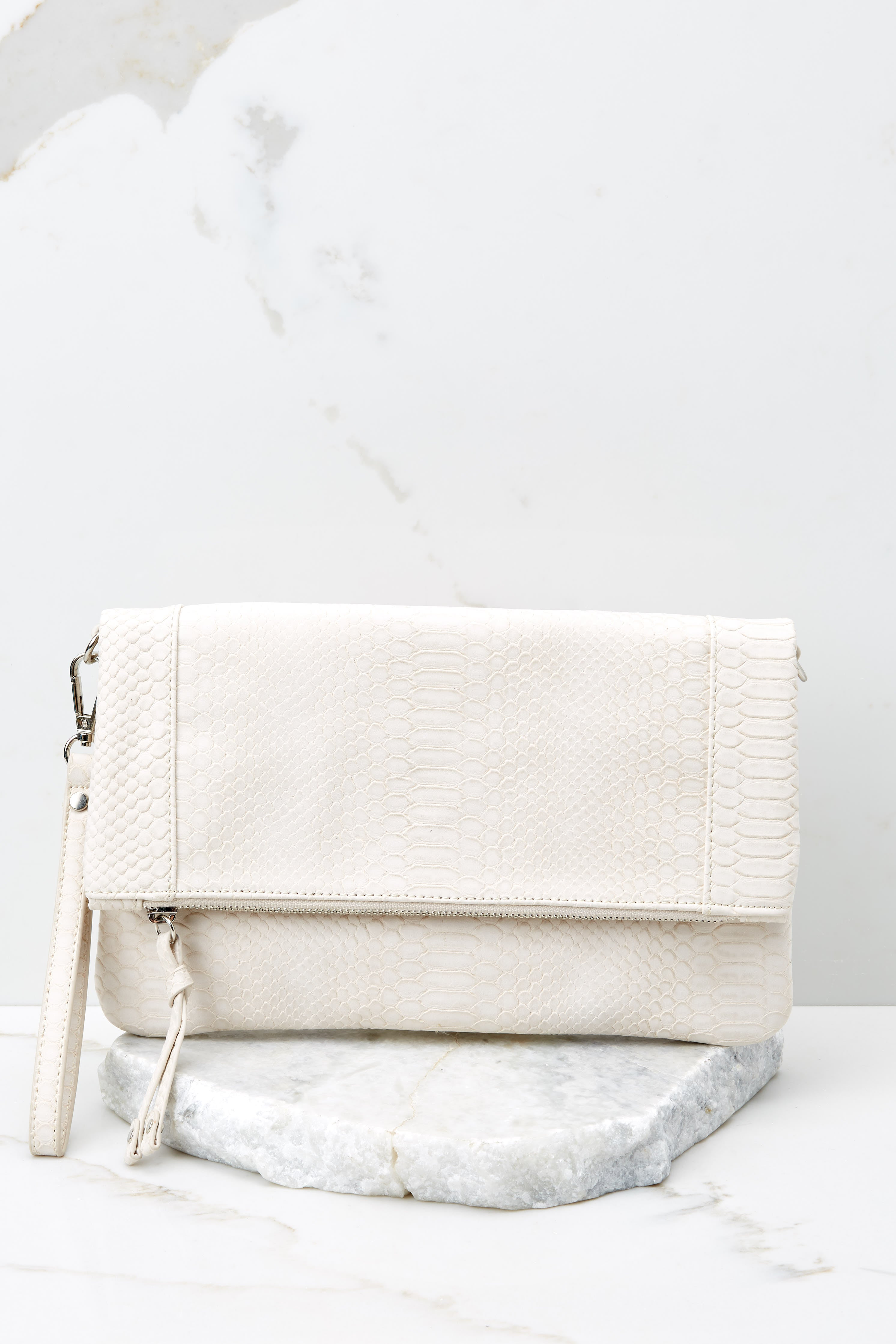 2 Marlena Ivory Snakeskin Clutch at reddress.com