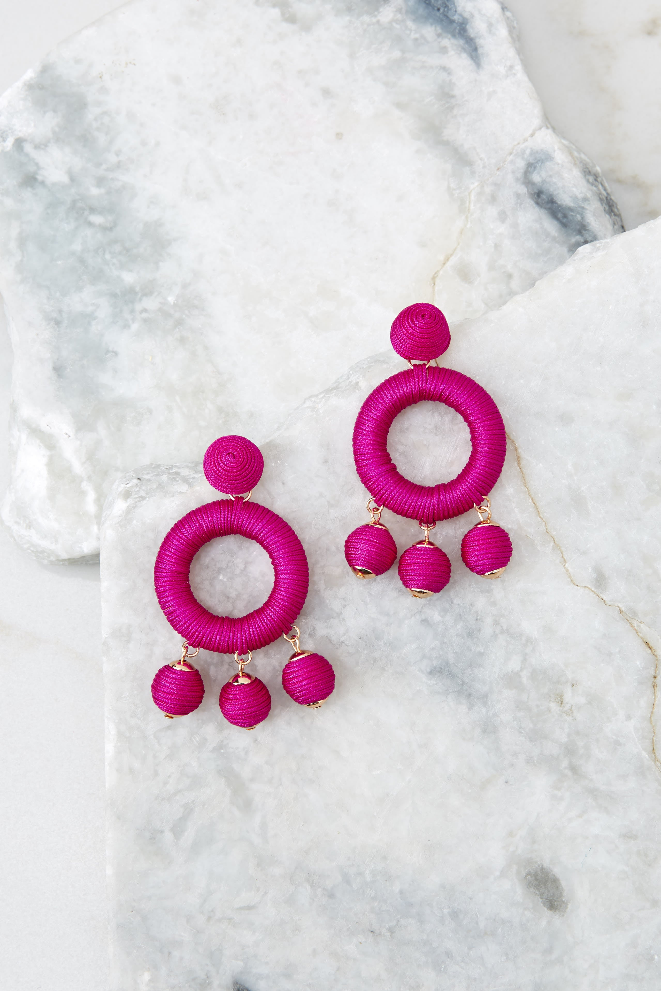 2 Around This Time Fuchsia Pink Earrings at reddressboutique.com