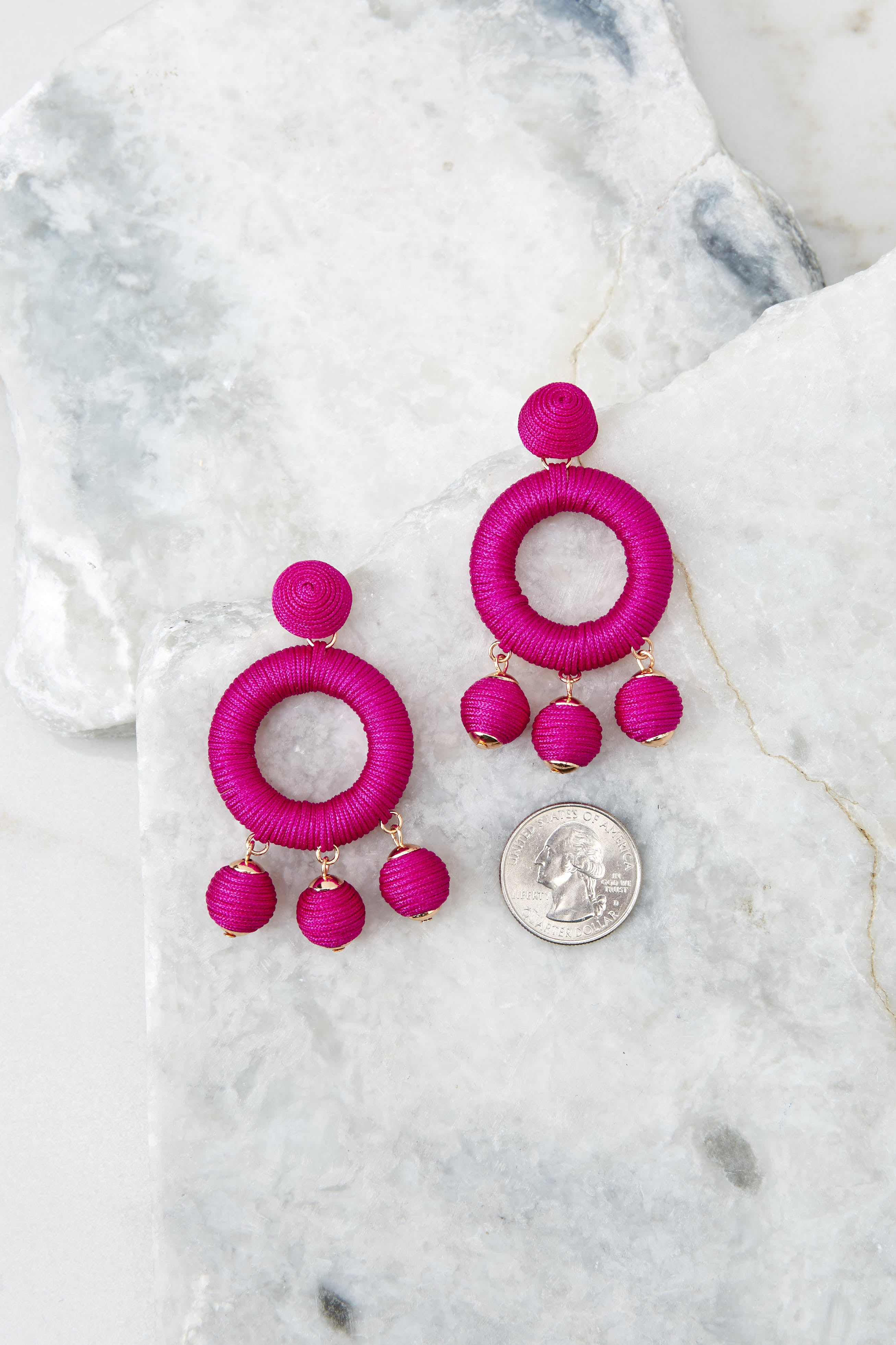 3 Around This Time Fuchsia Pink Earrings at reddressboutique.com