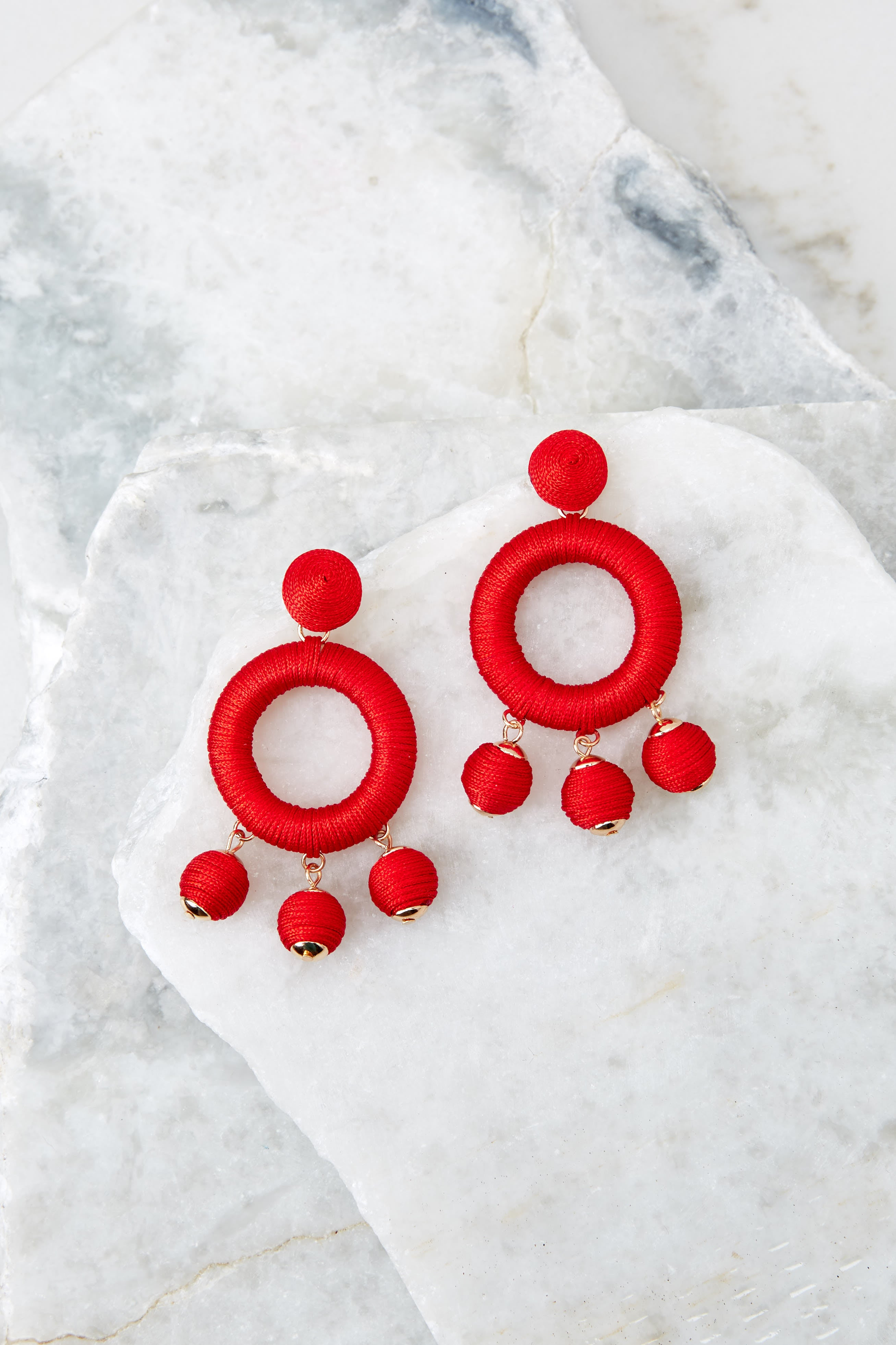 2 Around This Time Red Earrings at reddressboutique.com