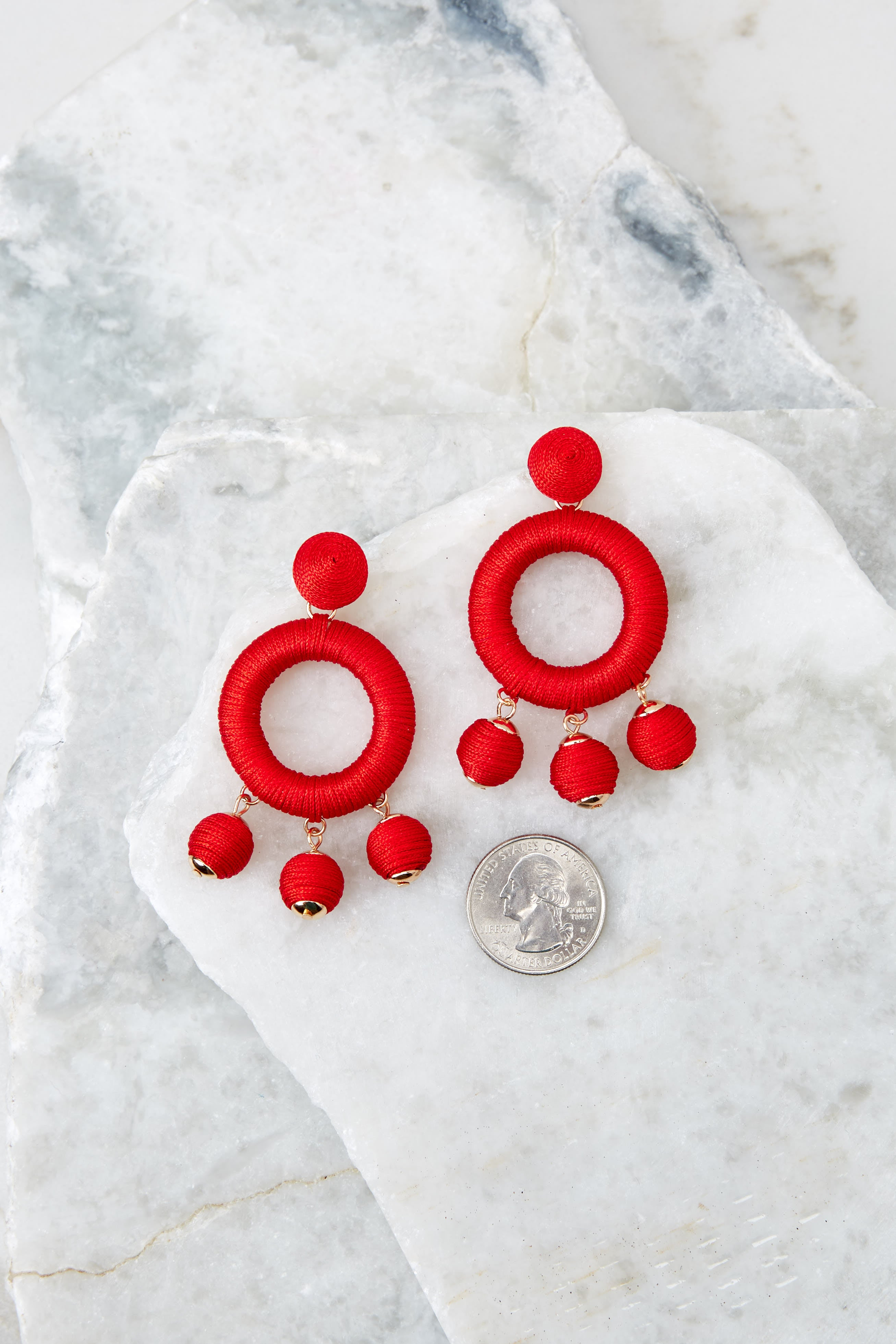 3 Around This Time Red Earrings at reddressboutique.com