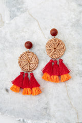 Feel The Breezes Woven Red Multi Tassel Earrings