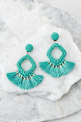 2 She's Famous Turquoise Tasseled Earrings at reddressboutique.com