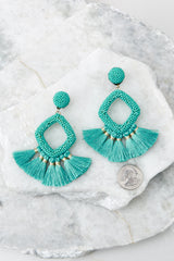 3 She's Famous Turquoise Tasseled Earrings at reddressboutique.com