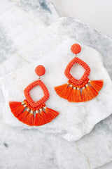 She's Famous Orange Tasseled Earrings