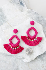 3 She's Famous Fuchsia Pink Tasseled Earrings at reddressboutique.com