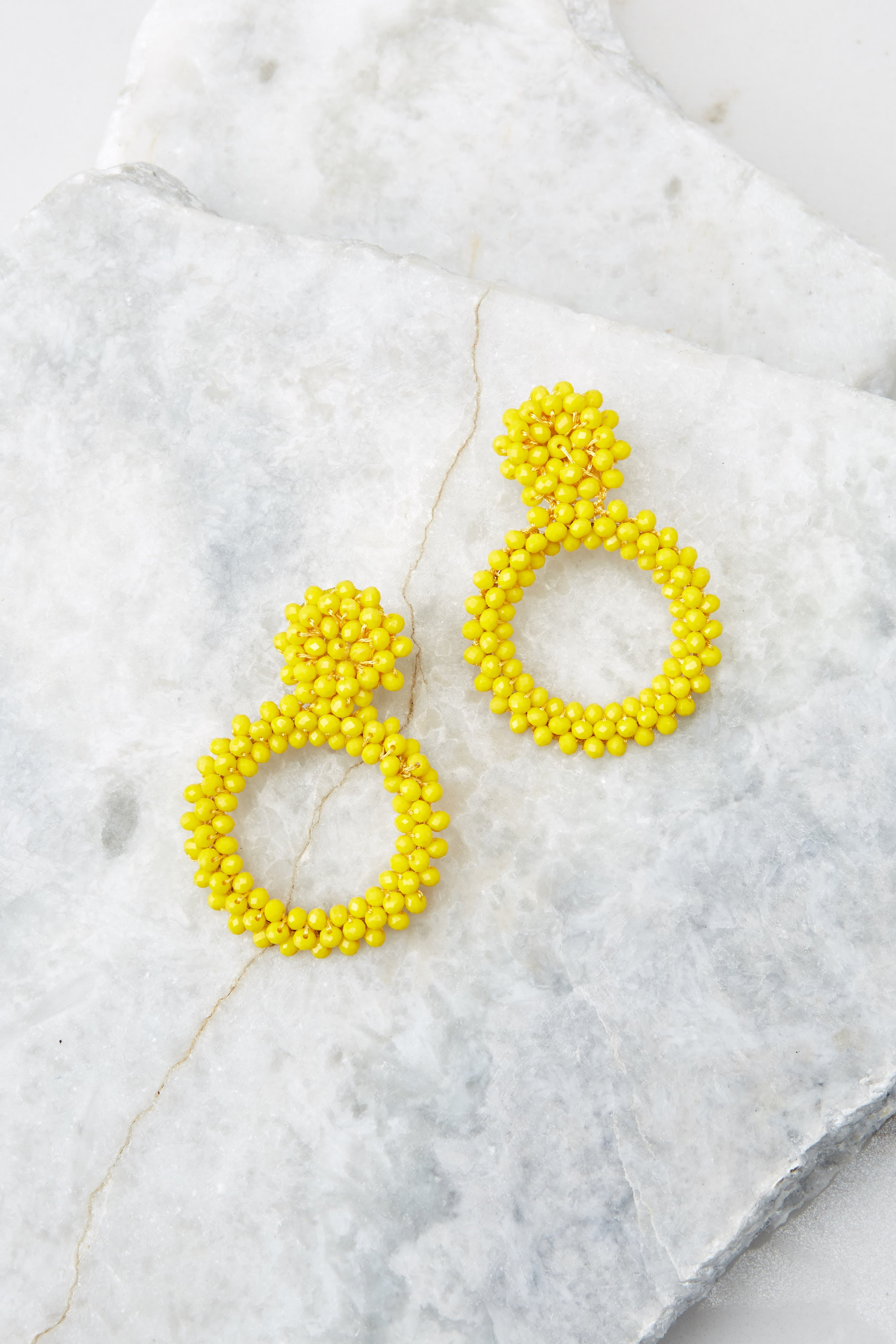 2 Multifaceted Charm Yellow Earrings at reddress.com