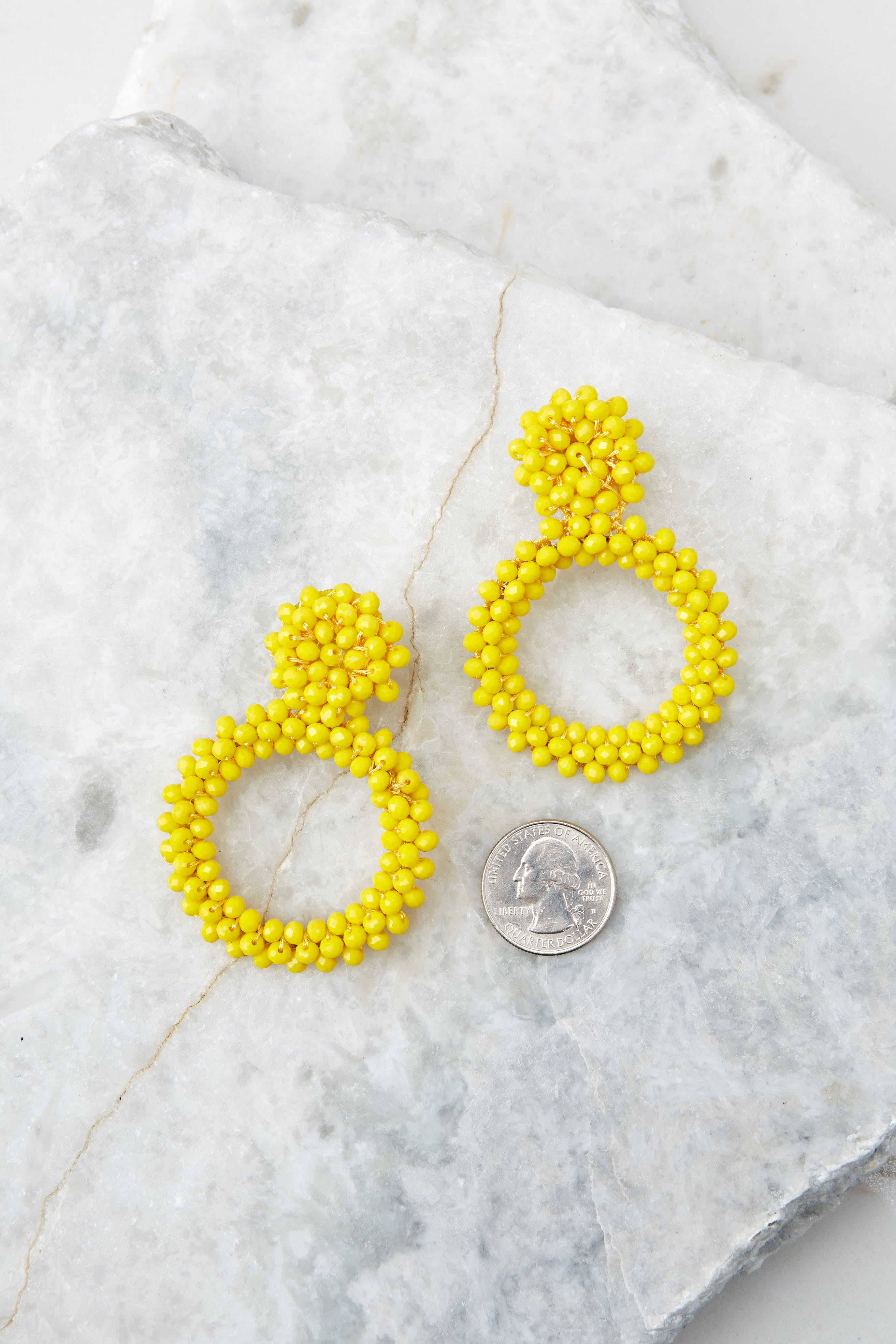 3 Multifaceted Charm Yellow Earrings at reddress.com