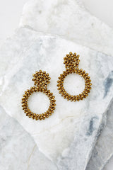 1 Multifaceted Charm Gold Earrings at reddressboutique.com