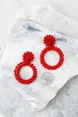 2 Multifaceted Charm Red Earrings at reddress.com