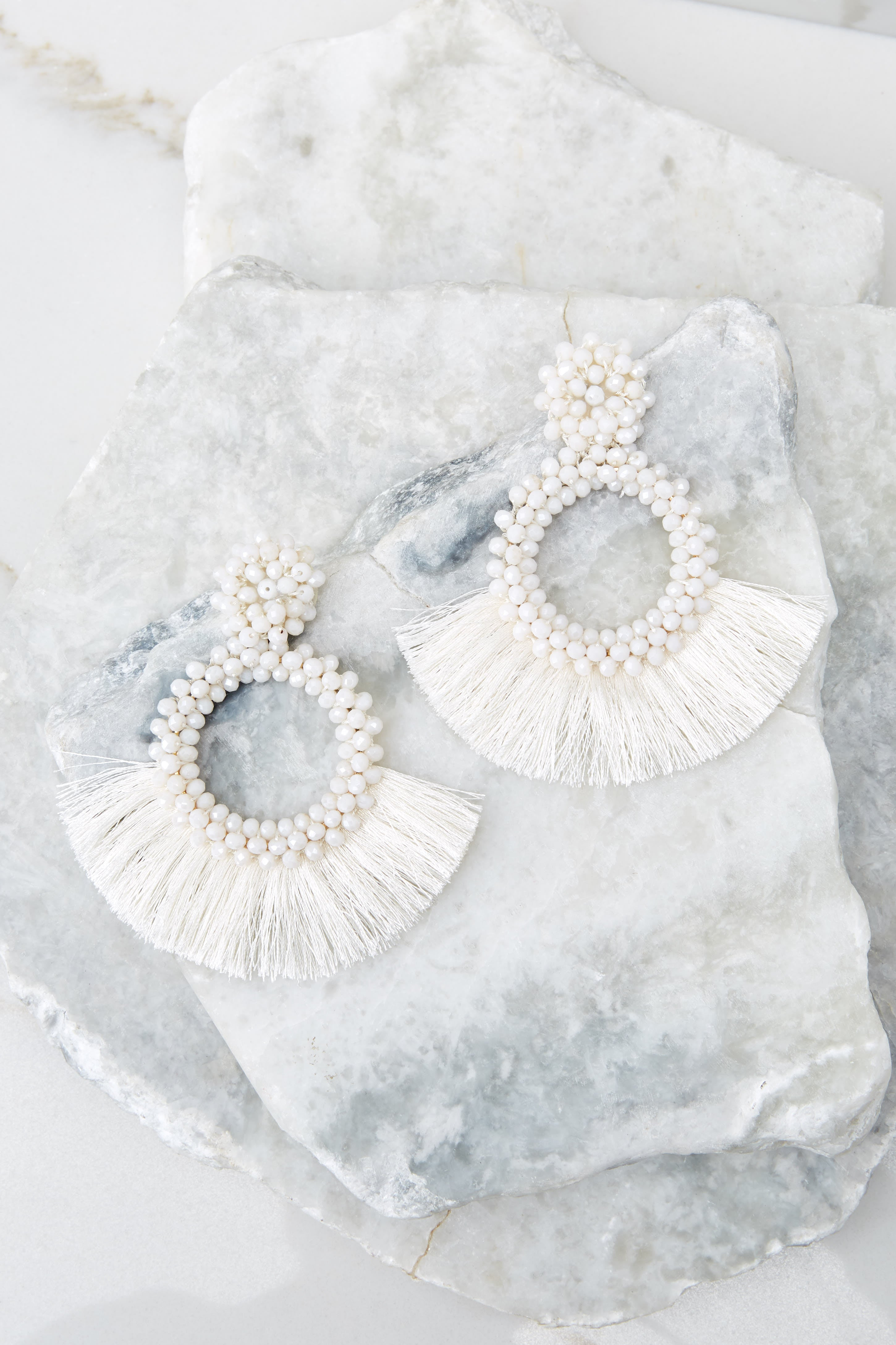Buzzworthy Style White Statement Earrings