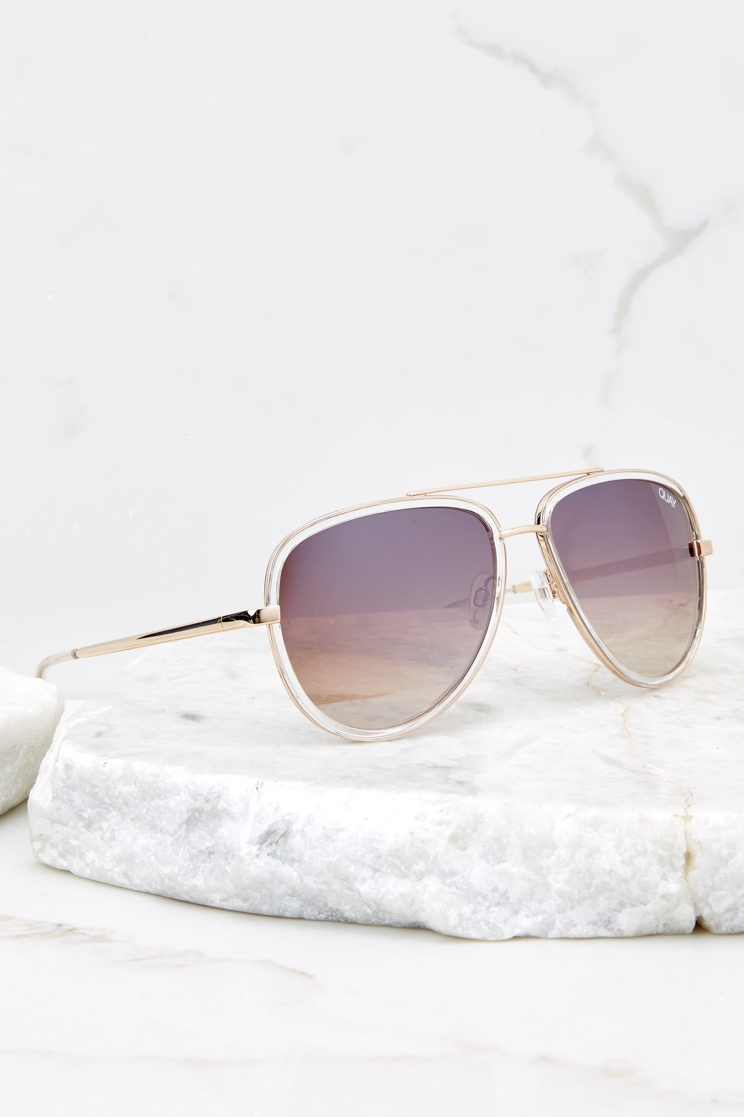2 All In Clear Brown Sunglasses at reddressboutique.com