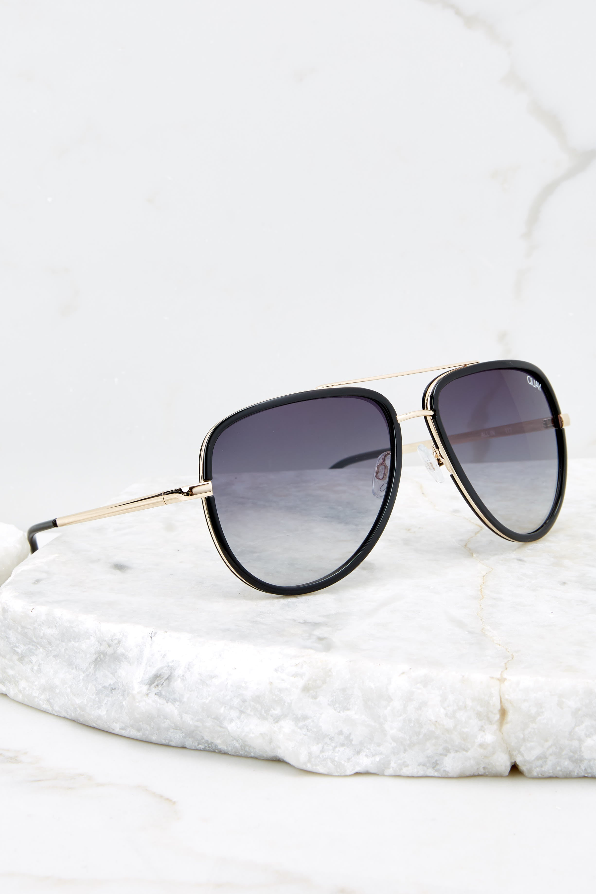 2 All In Black Smoke Fade Sunglasses at reddressboutique.com