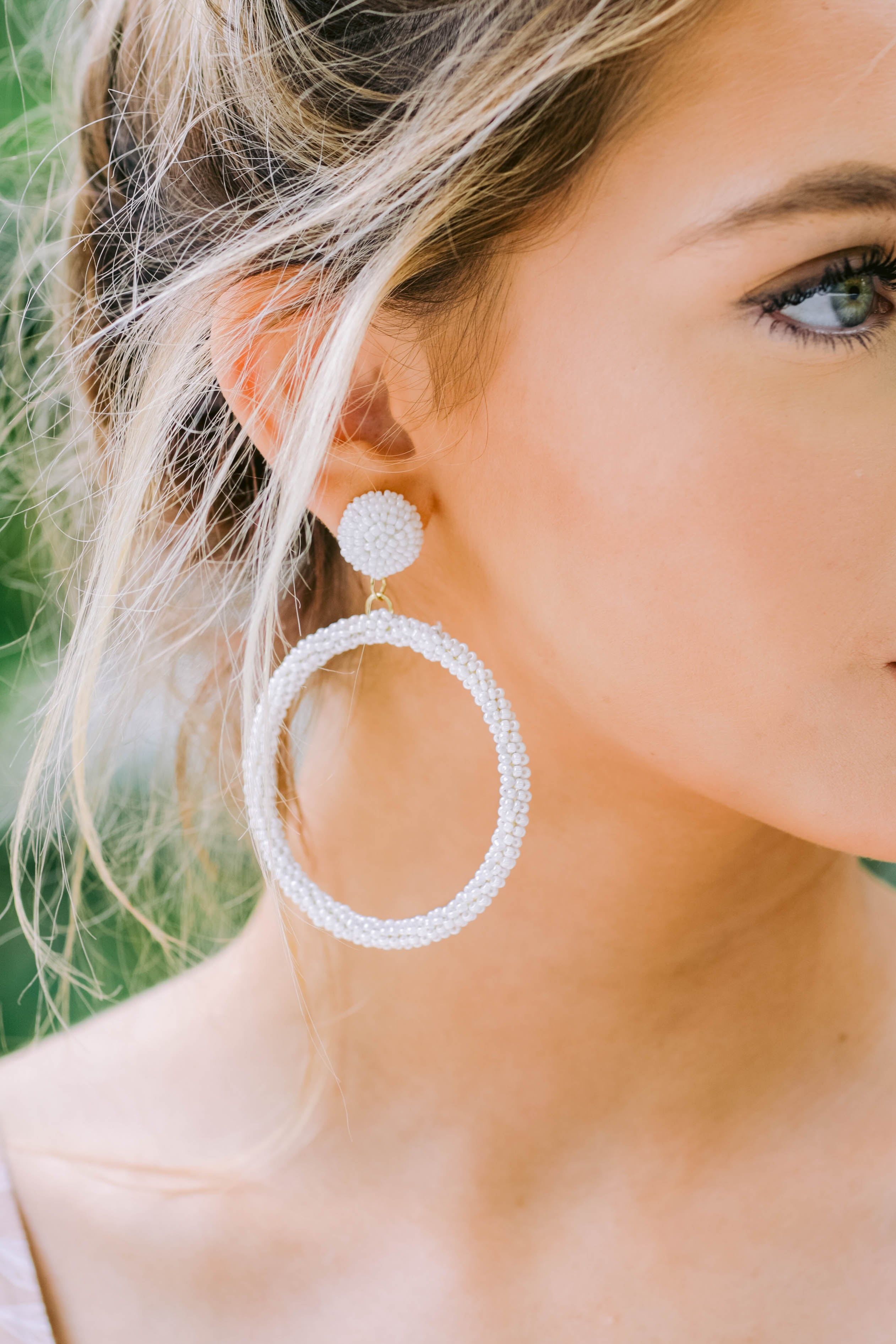 Circumference Of Style White Beaded Earrings