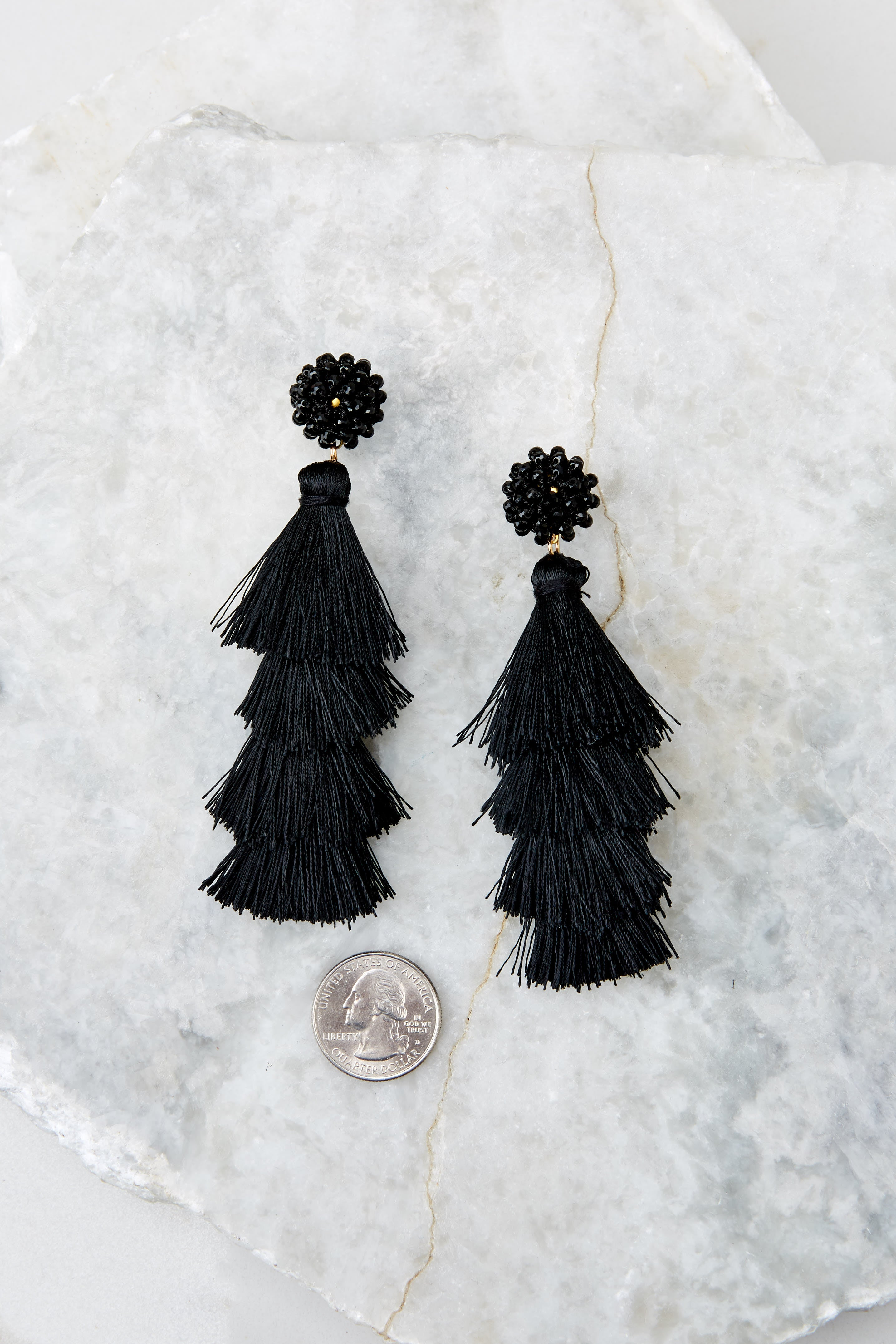 3 Decision Time Black Statement Earrings at reddress.com