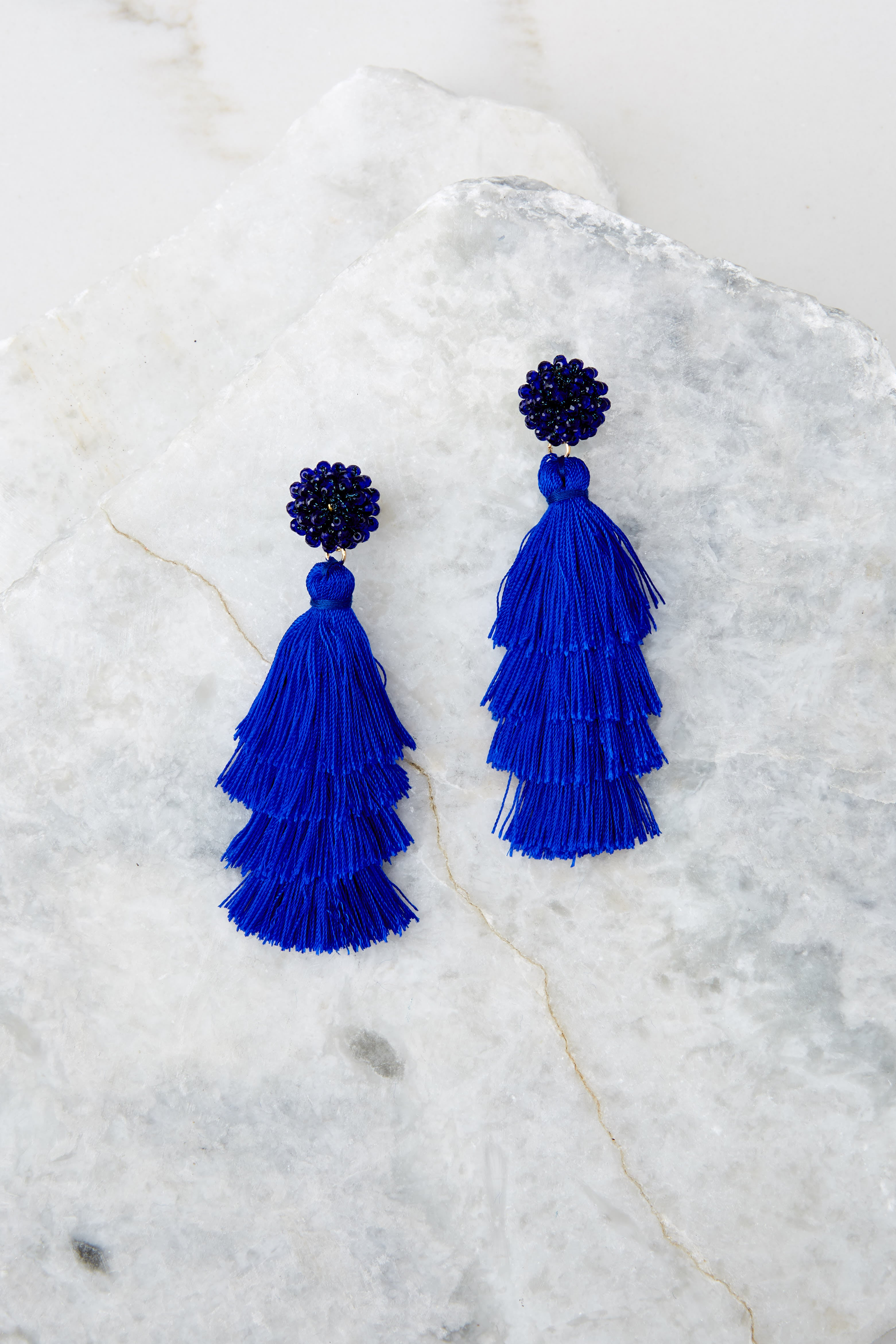 1 Decision Time Royal Blue Statement Earrings at reddress.com