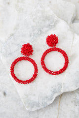 No Questions Asked Red Beaded Earrings