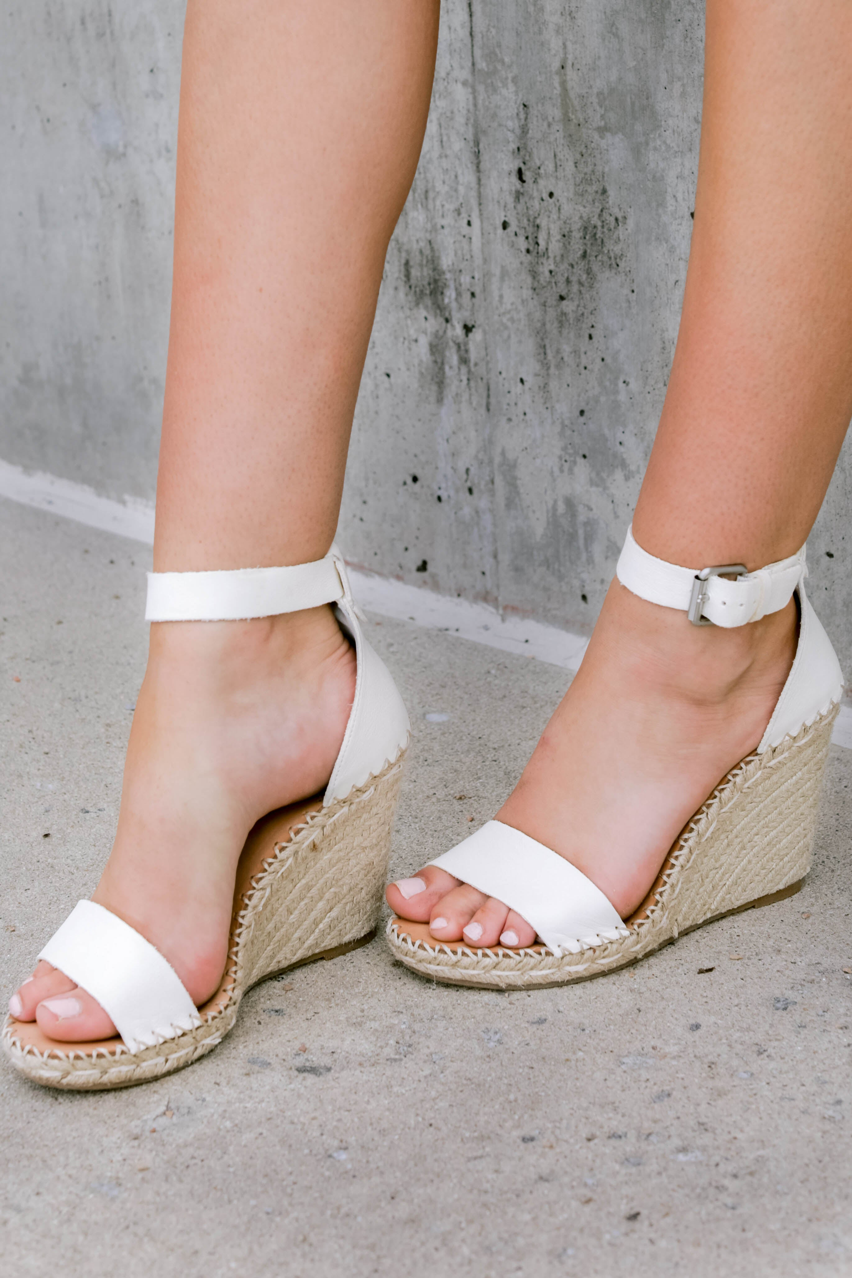 4 White Noor Wedges at reddressboutique.com