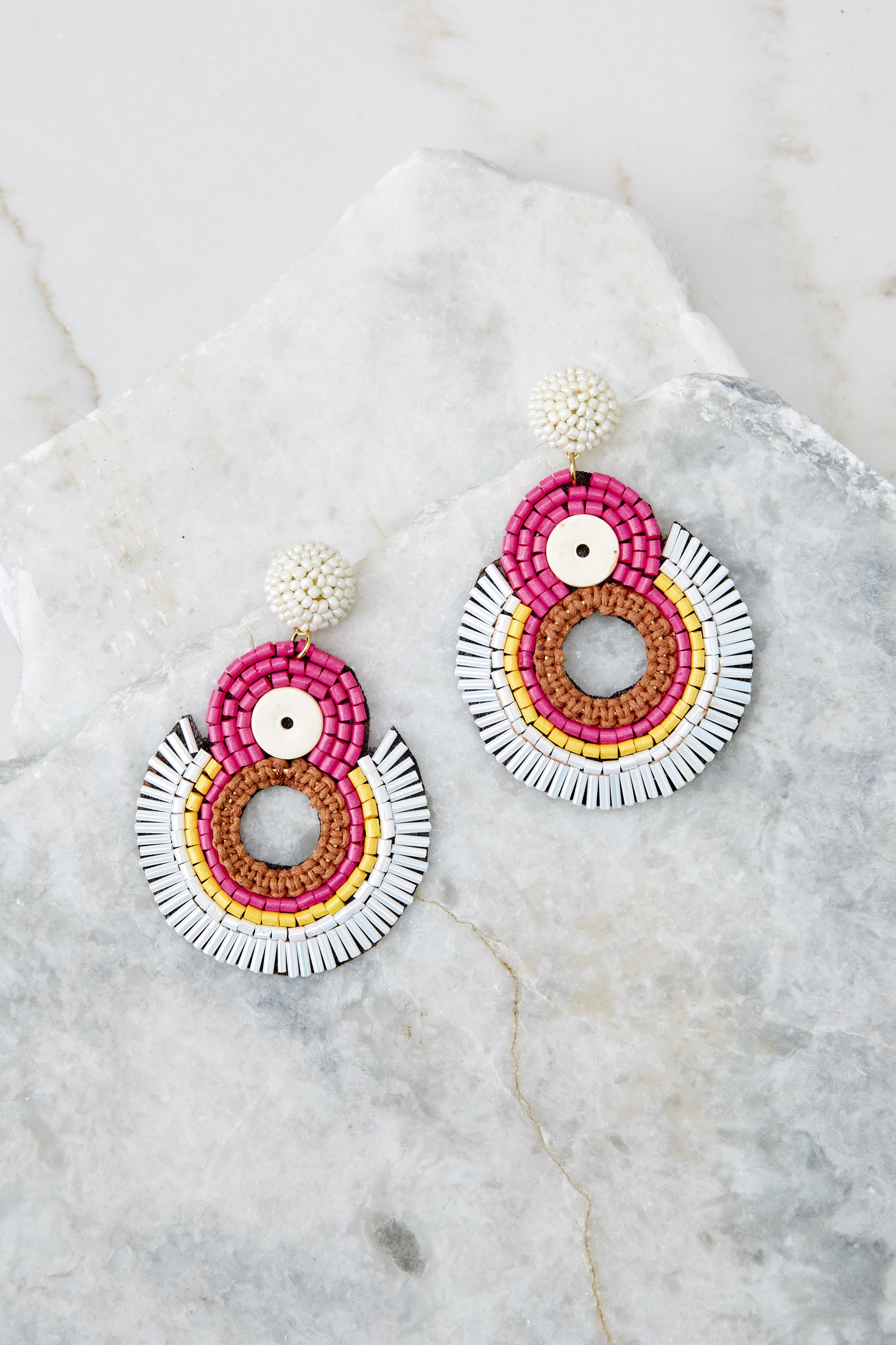 2 If I Was You Pink Multi Statement Earrings at reddressboutique.com