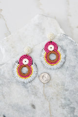 3 If I Was You Pink Multi Statement Earrings at reddressboutique.com
