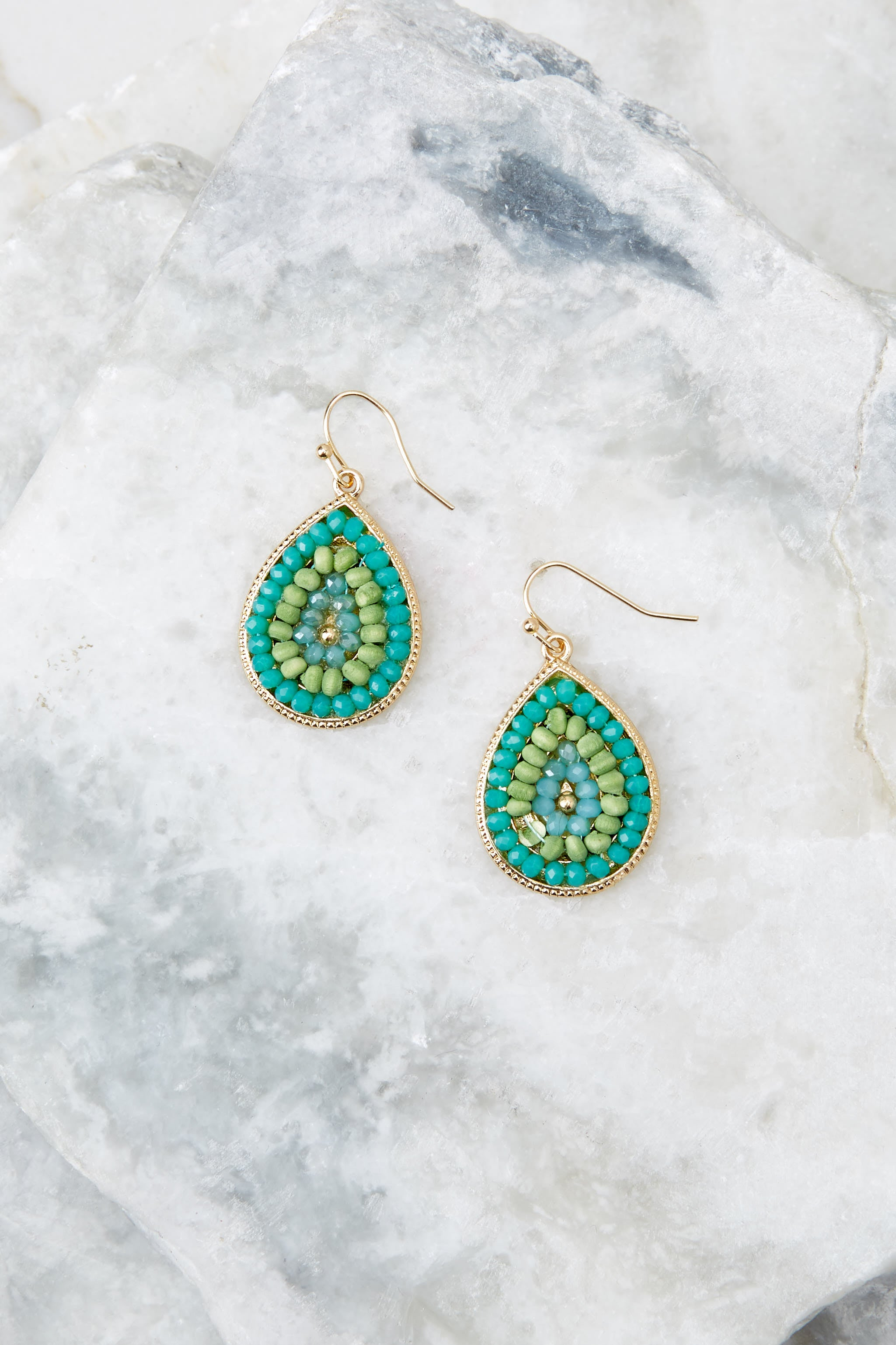 2 Drops Of Style Turquoise Earrings at reddressboutique.com