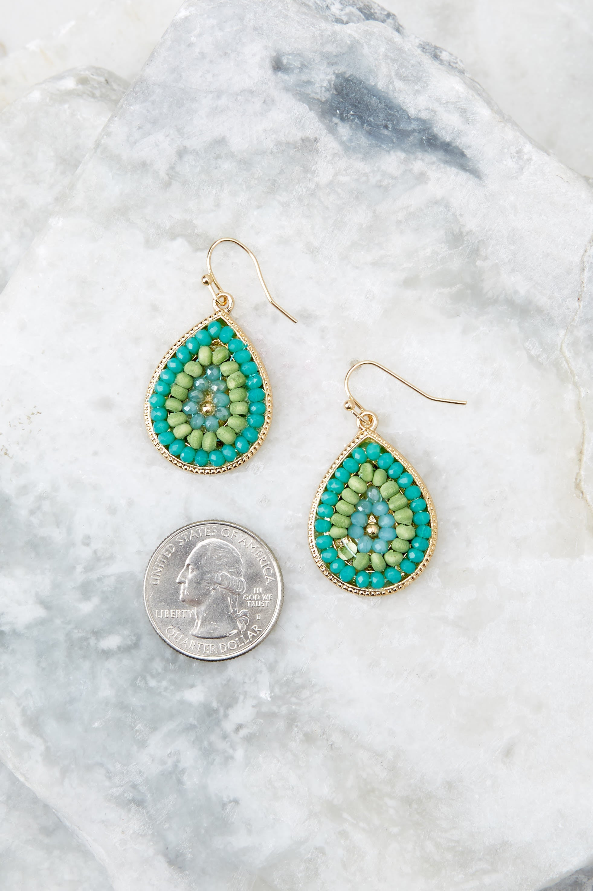 3 Drops Of Style Turquoise Earrings at reddressboutique.com