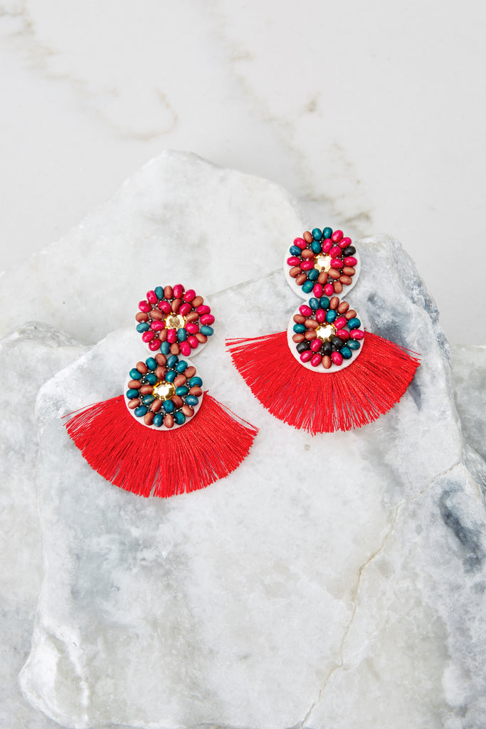 Making Statements Red Earrings