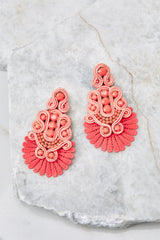 2 I Dare You Coral Statement Earrings at reddress.com