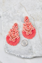3 I Dare You Coral Statement Earrings at reddress.com