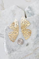 3 Butterfly To Me Gold Earrings at reddressboutique.com