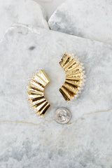 3 New Groove Gold Earrings at reddressboutique.com