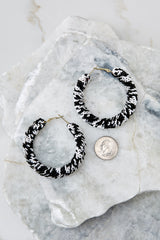 Leave The Night On Black And White Hoop Earrings