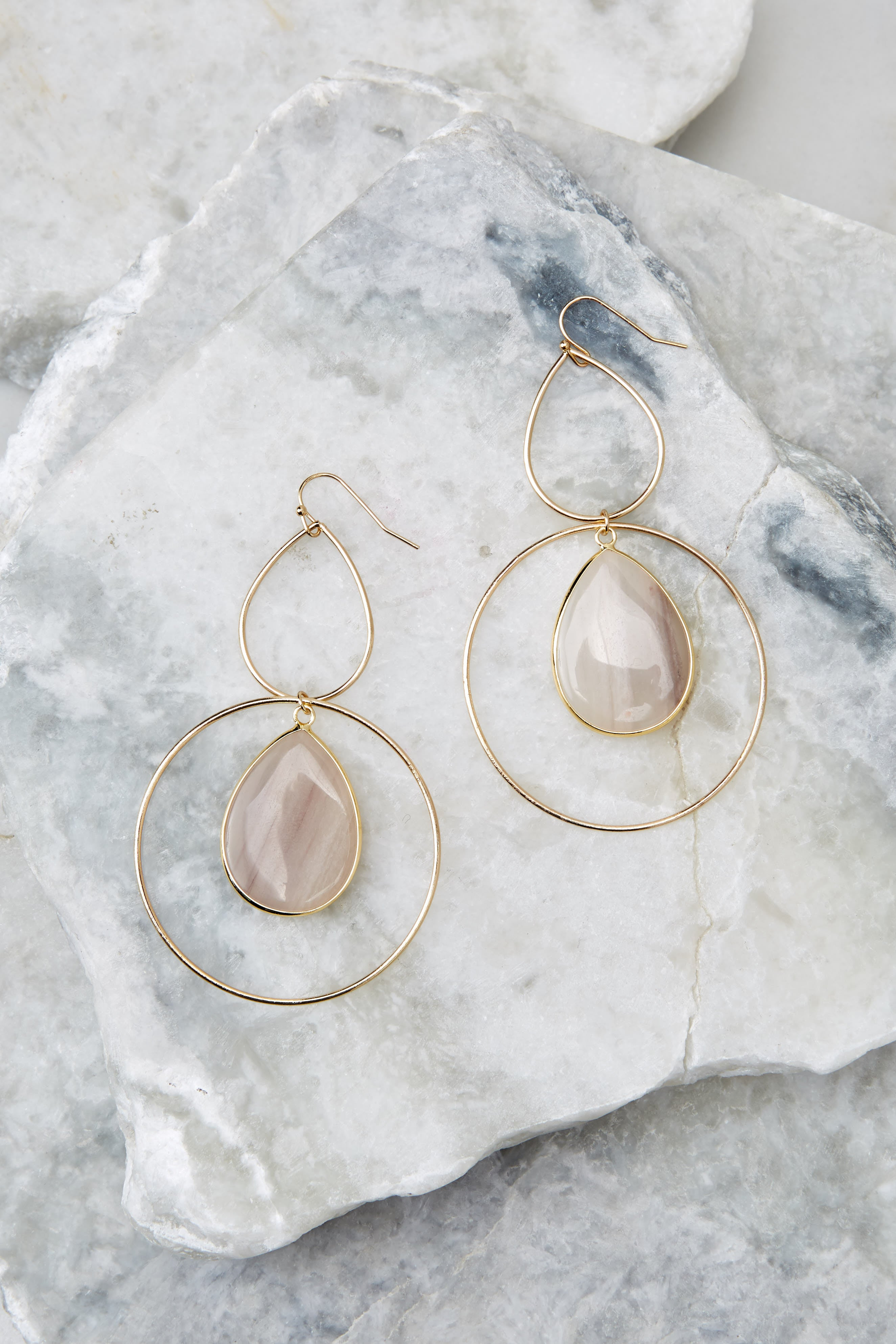 2 Trifecta Of Perfection Ivory Blush Earrings at reddressboutique.com