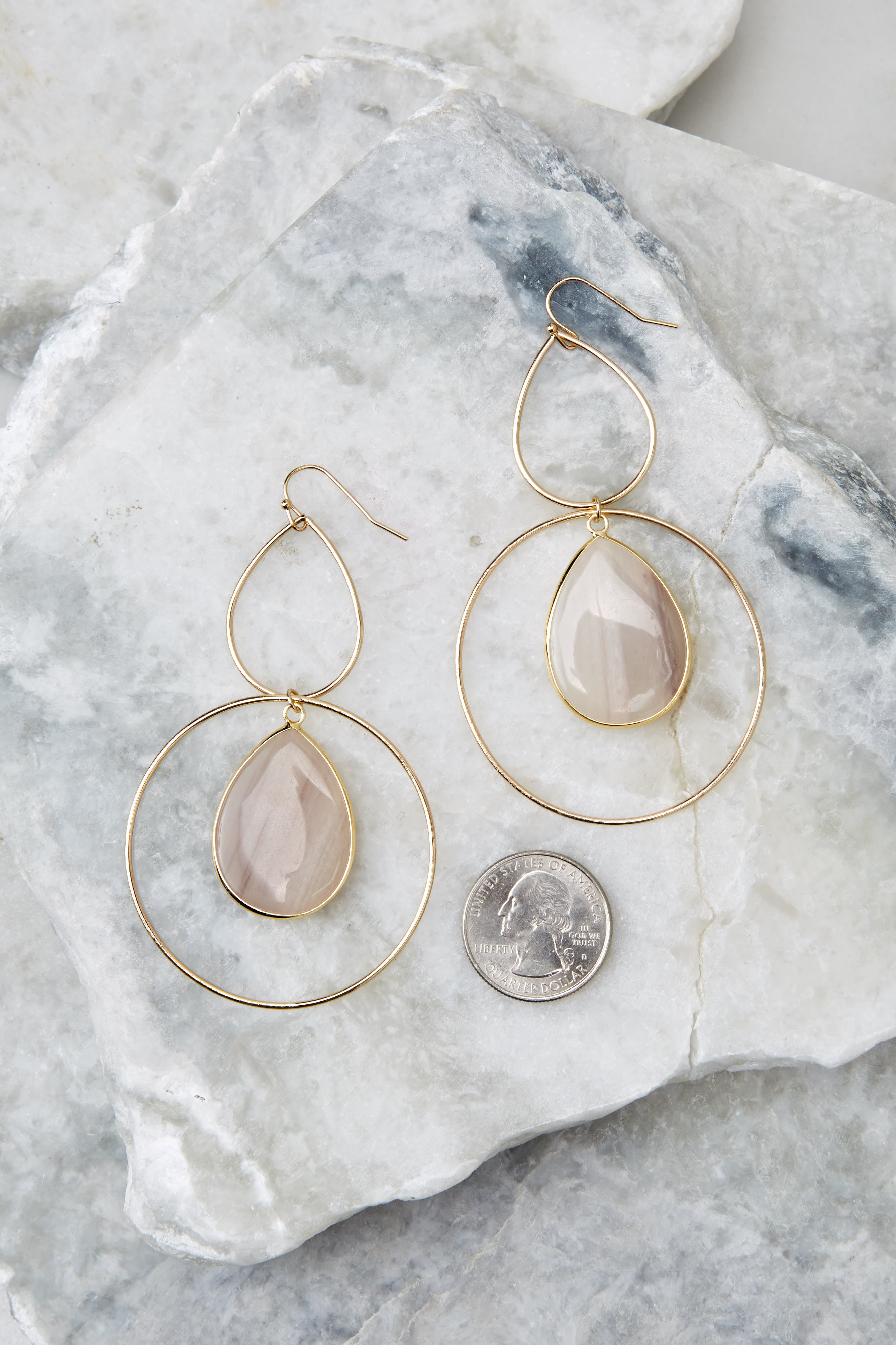 3 Trifecta Of Perfection Ivory Blush Earrings at reddressboutique.com